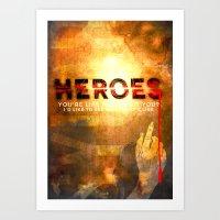heroes Art Prints featuring HEROES by Michael Scott Murphy