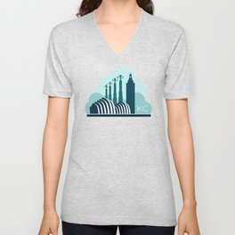 Kansas City in the Clouds - Blue Unisex V-Neck