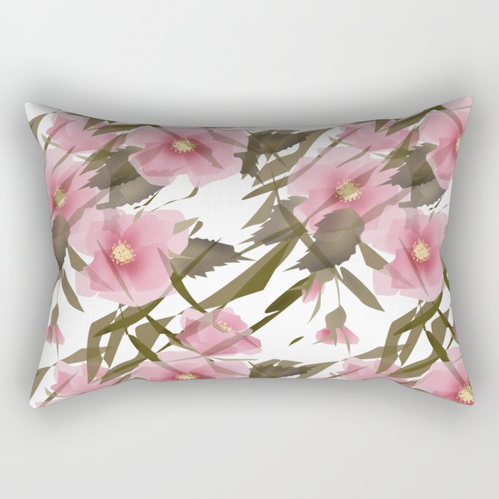 Pink white floral pattern . Rectangular Pillow