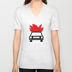 the car's on fire Unisex V-Neck