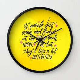 Look at the Stars - Yellow, Pink & Blue Wall Clock