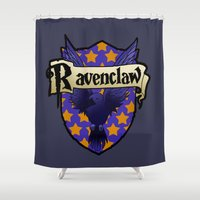 ravenclaw Shower Curtains featuring Ravenclaw Crest by AriesNamarie