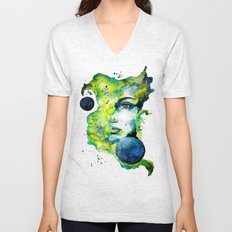 Esther Green (Set) by carographic watercolor portrait Unisex V-Neck