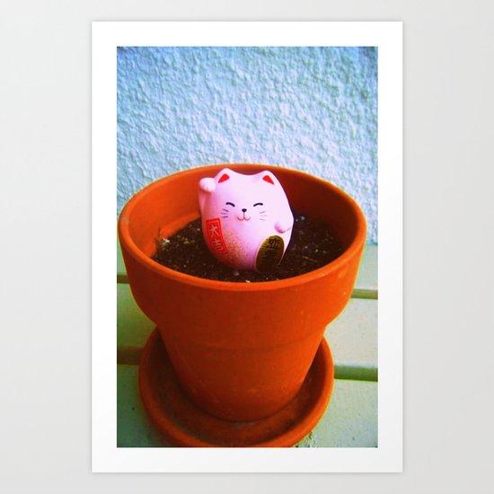 Zen Lucky Cat Art Print