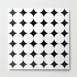 Black stars and white circles Metal Print