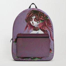 Sugar skull girl in purple Backpack