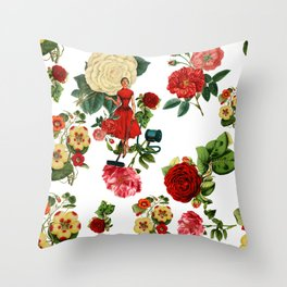 Keep it clean floral collage Throw Pillow