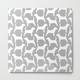 Grey and White Beagle Silhouettes Pattern Metal Print