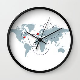 Long Distance World Map - UK to New York Wall Clock