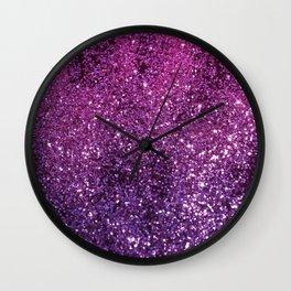 Purple Pink Ombre Lady Glitter #1 #shiny #decor #art #society6 Wall Clock