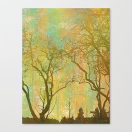 Golden Tree Silhouette, Rainbow Color Background Canvas Print