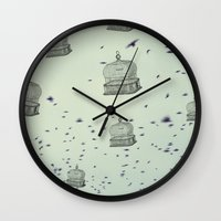 cage Wall Clocks featuring cage free by Beverly LeFevre