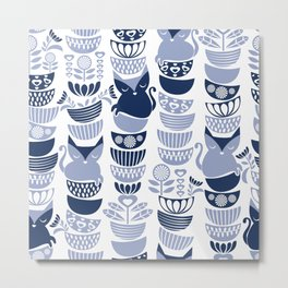 Swedish folk cats III // white background pale and navy blue kitties & bowls Metal Print