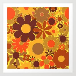 Funky Daisy Floral in Electric Orange Art Print