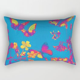 Blue Butterflies & Flowers Rectangular Pillow