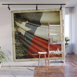 Grunge sticker of Texas (USA) flag Wall Mural
