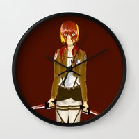 snk Wall Clocks featuring Bloody Armin by Paula Urruti