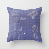 transformer Throw Pillows featuring Transformer Blueprints by William McDonald