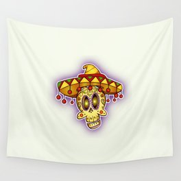 Day of the Dead Happy Skull In Sombrero Wall Tapestry