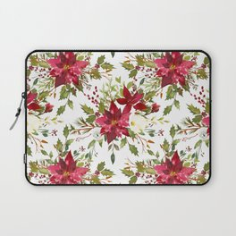 Watercolor pink green hand painted floral berries Laptop Sleeve