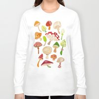 mushrooms Long Sleeve T-shirts featuring Mushrooms by Cat Coquillette
