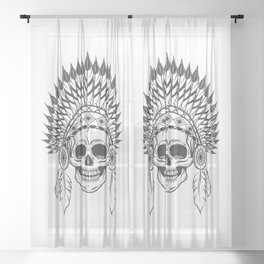 Skull in indian headwear with feather in monochrome style. Art print Sheer Curtain