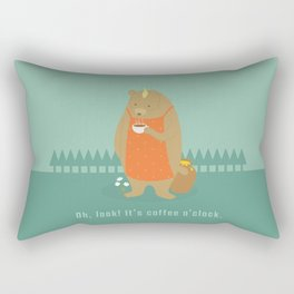 Bear Drinking Coffee Rectangular Pillow