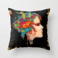 glitch Throw Pillows featuring Glitch by Steve W Schwartz Art