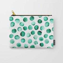 Watercolor Dots // Emerald Carry-All Pouch