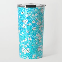 turquoise blue white floral pattern Travel Mug