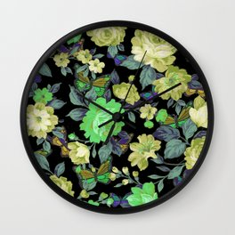 july roses & butterflies Wall Clock