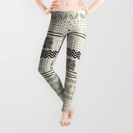 Mud Cloth Geometric Stripe in Cream Leggings