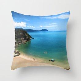 Dream Beach in Borneo Throw Pillow