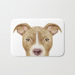 Pit Bull light Brown 2, Original painting by miart Bath Mat