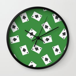 Playing cards clubs suit on green Wall Clock