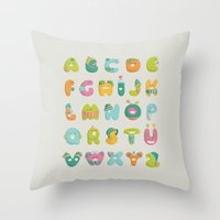 alphabet Throw Pillows featuring alphabet by lalehan canuyar
