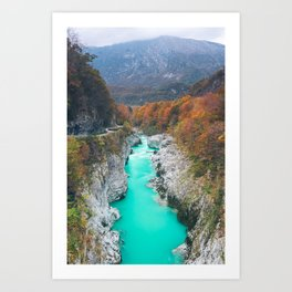 Stunning river Soca Napolen bridge, Slovenia Art Print