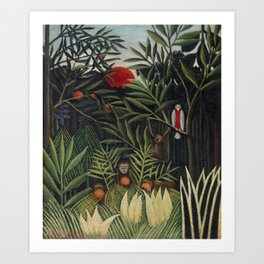 Monkeys and Parrot in the Virgin Forest Art Print