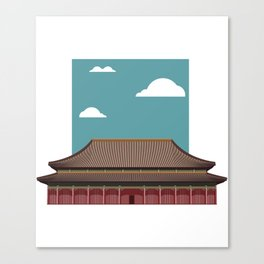 Chinese Building Illustration Canvas Print