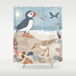 Coastal Birds By The Sea Shower Curtain