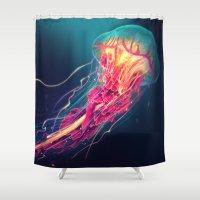 jellyfish Shower Curtains featuring Jellyfish by Nikittysan