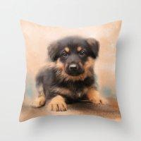 german shepherd Throw Pillows featuring German Shepherd Puppy Portrait by Jai Johnson