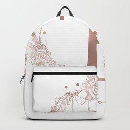 Letter E Rose Gold Pink Initial Monogram Backpack