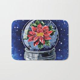Poinsettia in a Snow Globe Bath Mat