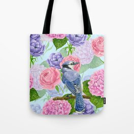Blue jay and flowers watercolor pattern Tote Bag