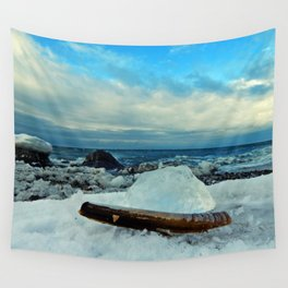 Spring Comes to the Beach in Ice that glows Blue Wall Tapestry