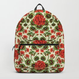 Red Geraniums -  Vintage-Inspired Floral Pattern For Spring Backpack