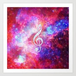 Galaxy Nebula Glitter Music Note Pink Space Art Print