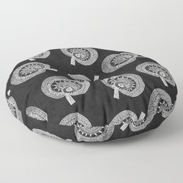 Black Wild Mushrooms all over Floor Pillow