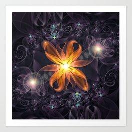 Beautiful Orange Star Lily Fractal Flower at Night Art Print